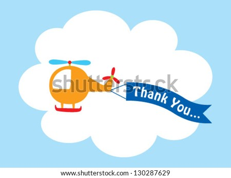 cute helicopter thank you tag - stock vector