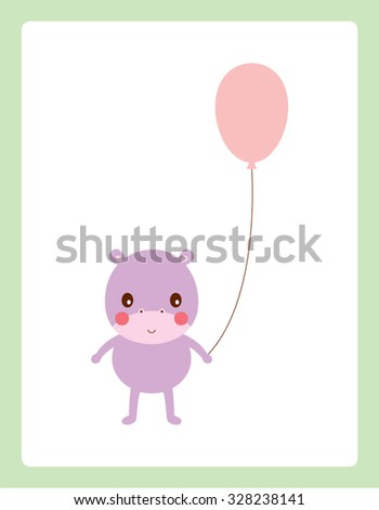 cute hippo with balloon