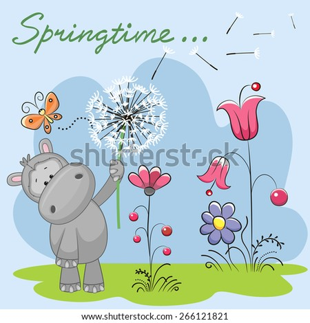 Cute Hippo with dandelion on a meadow  - stock vector