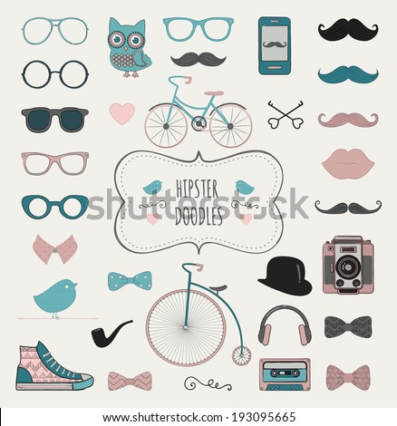Cute Hipster Colorful Retro Vintage Doodle Icon Set. Vector Illustration - stock vector