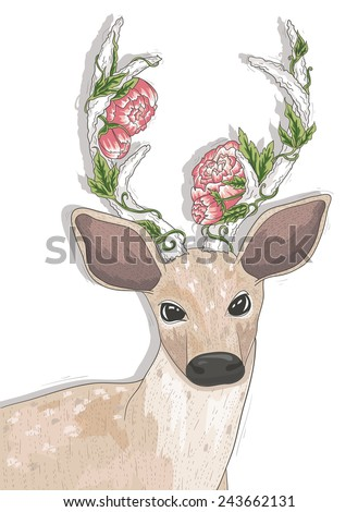 Cute hipster deer with flowers on his horns. - stock vector