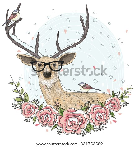 Cute hipster deer with glasses, flowers, and bird. - stock vector
