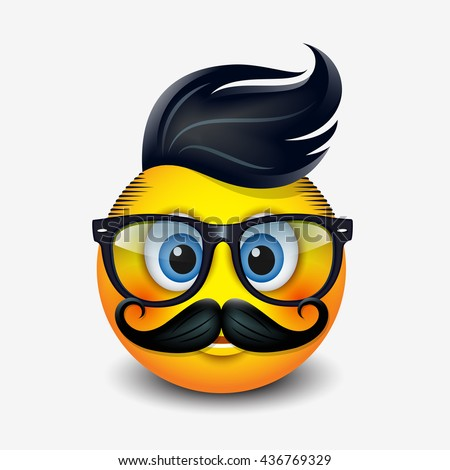 Cute hipster emoticon wearing eyeglasses with trendy haircut  and mustaches, emoji, smiley - vector illustration - stock vector
