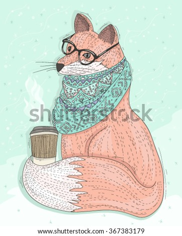 Cute hipster fox with glasses drinking hot coffee. Winter background. Vector illustration for kids or children. - stock vector