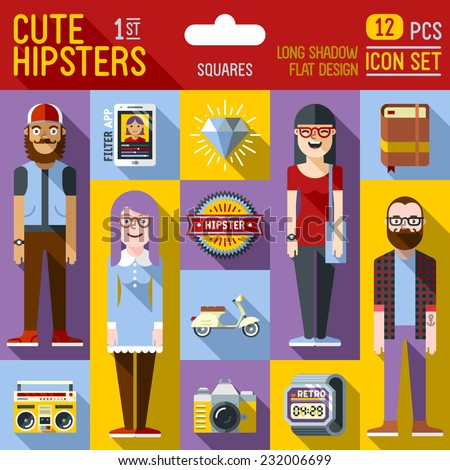 Cute hipster looks vector illustrations squares 1st icon set. Long shadow flat design.  - stock vector
