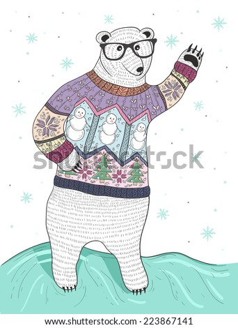 Cute hipster polar bear with glasses and christmas sweater - stock vector