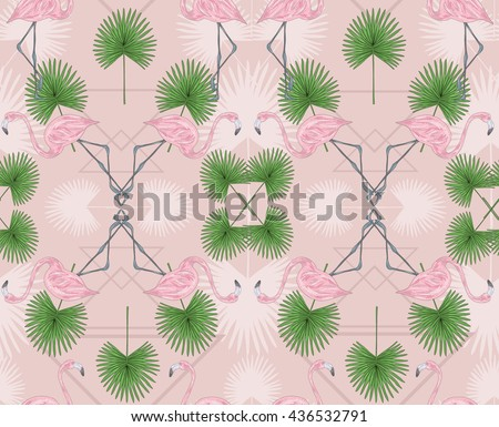 Cute hipster seamless pattern with flamingos and palm. Vector summer background with birds. Flamingo pattern. Flamingo pattern. Flamingo pattern. Flamingo pattern. Flamingo pattern. Flamingo pattern