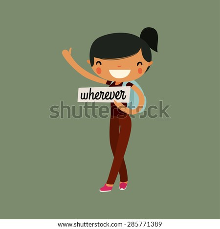 cute hitchhiking girl character. colorful vector illustration - stock vector