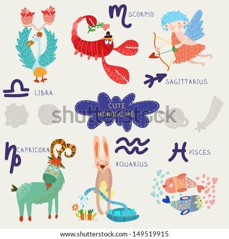 Cute horoscope. Zodiac  set. Libra,scorpio,sagittarius, capricorn, aquarius, pisces - stock vector