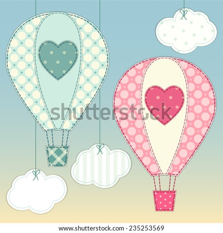 Cute hot air balloons as retro fabric applique in shabby chic style