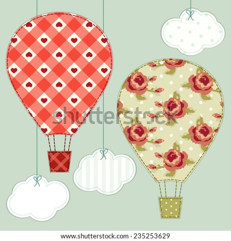 Cute hot air balloons as retro fabric applique in shabby chic style - stock vector