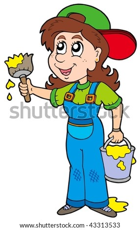 Cute house painter - vector illustration. - stock vector