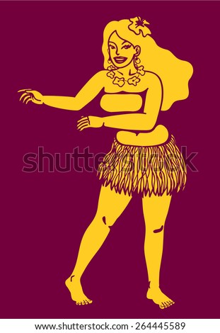 Cute hula girl dancing vector silhouette from hawaii or exotic island - stock vector