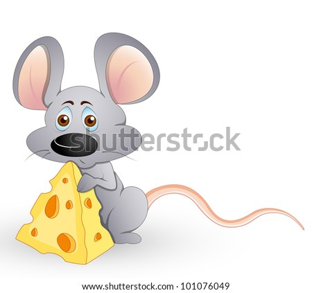 Cute Hungry Mouse - stock vector