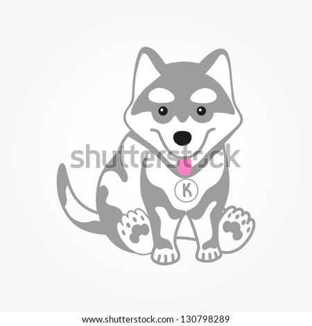 Cute husky puppy vector illustration. Dog isolated on white. - stock vector