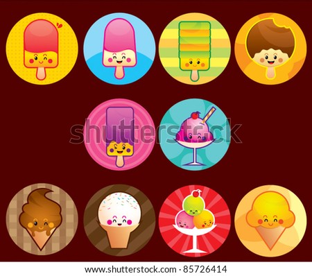 Cute Ice cream buttons, a button series of cute ice cream. All object are separated in different layer
