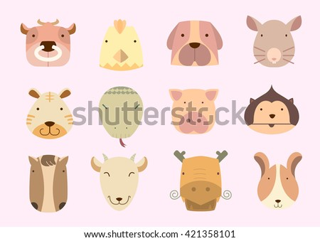 Cute icon chinese astrology - stock vector