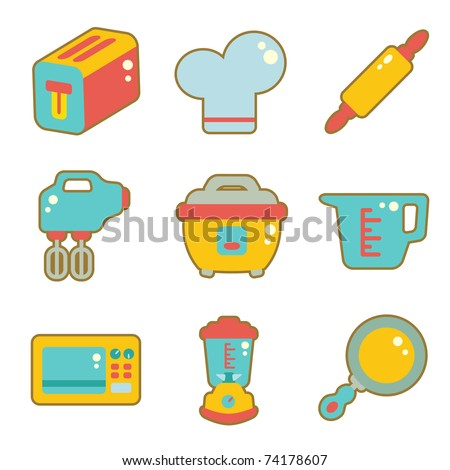 cute icon set - kitchen appliances