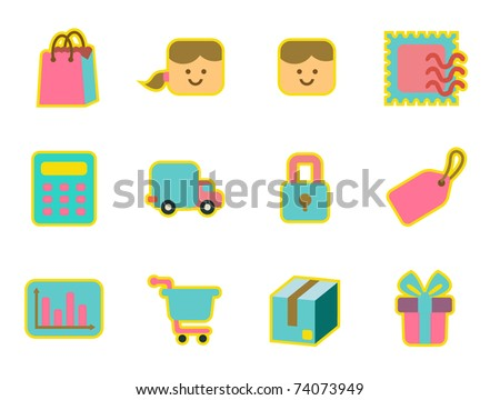 cute icon set - shopping