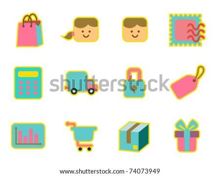 cute icon set - shopping - stock vector
