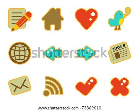 cute icon set - website - stock vector