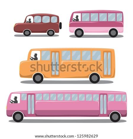 Cute Icons Set : Car / Vehicles / Transportation. - stock vector