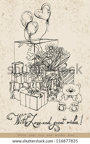 Cute illustration for a holiday greetings hand drawn vector carcasses gifts - stock vector