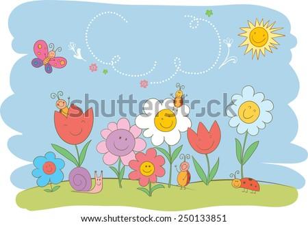 Cute illustration for Easter or spring design. - stock vector