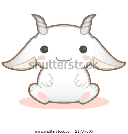 Cute illustration of a goat - stock vector