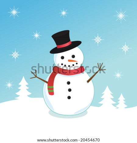 Cute illustration of a snowman - stock vector