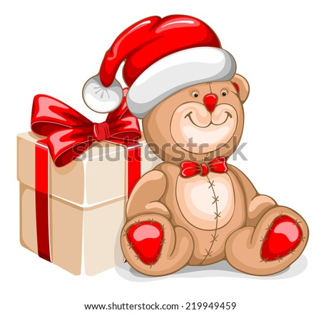 Cute illustration of Christmas Bear with gift box - stock vector