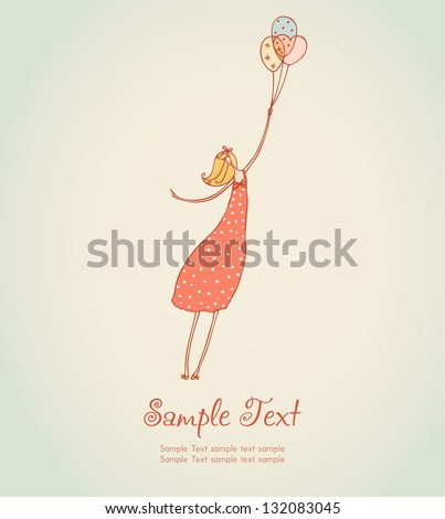 Cute illustration of flying romantic girl in rose summer dress and colorful balloons. Template for design, decoration, scrapbooking - stock vector