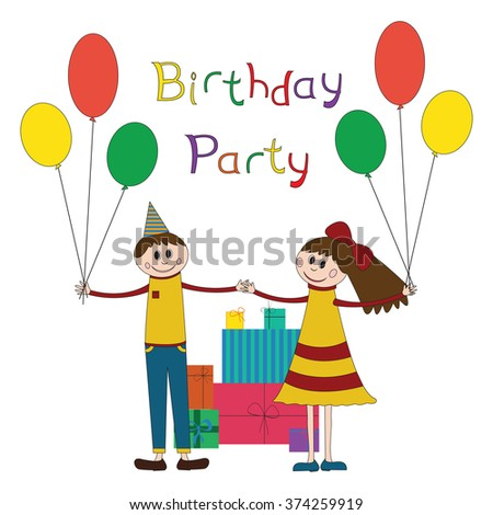 Cute illustration of happy children birthday party with a lot of gifts and girl and boy on.