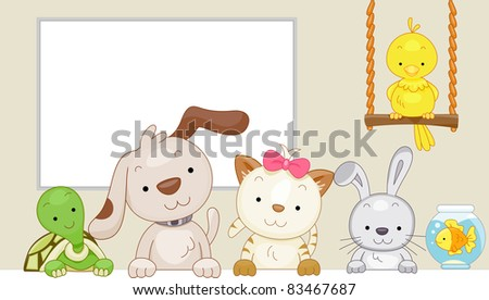 Cute Illustration of Pets Sitting Side by Side - stock vector