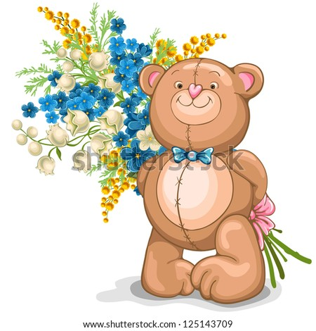 Cute illustration of Teddy Bear with a bouquet of flowers - stock vector