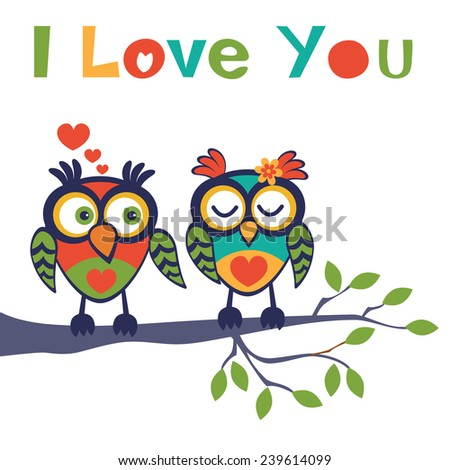 Cute illustration of two owls in love sitting on a tree branch - stock vector