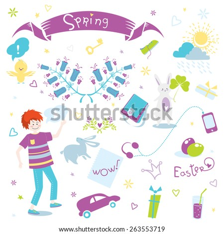 Cute illustration's set with Spring and Easter elements in vector for greeting cards, scrapbook, wrapping, notebooks and different kinds of childish accessories. - stock vector