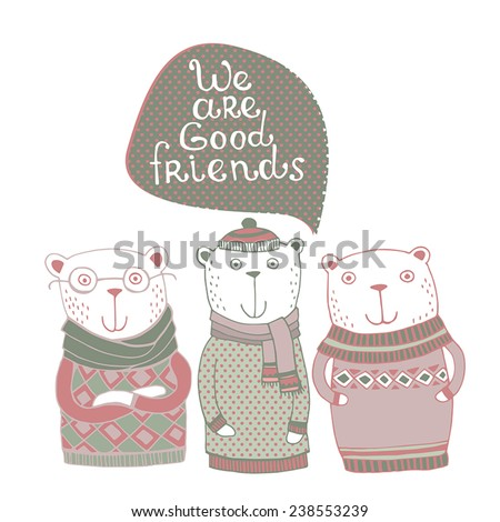 Cute illustration with best friends animals hipster style - stock vector