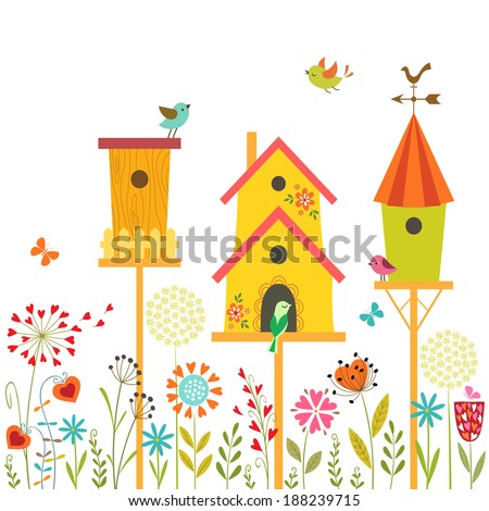 Cute illustration with bird houses, hand drawn flowers and place for your text. - stock vector