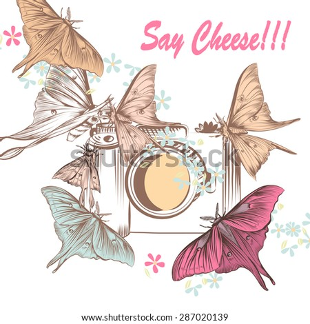 Cute illustration with old-fashioned camera and butterflies say cheese - stock vector