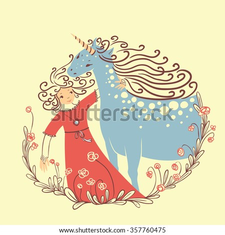 Cute illustration with princess and unicorn - stock vector