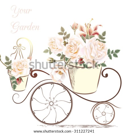 Cute illustration with rose flowers in a potter your garden - stock vector