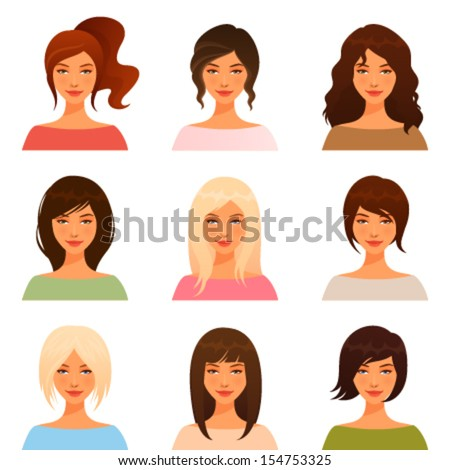 cute illustrations of beautiful young girls with various hair style - stock vector