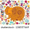 Cute indian elephant with flowers. Spring illustration. Cartoon wallpaper - stock vector