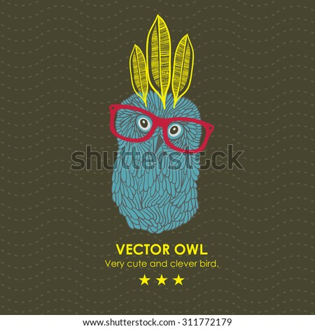 Cute indian owl. Vector illustration. - stock vector