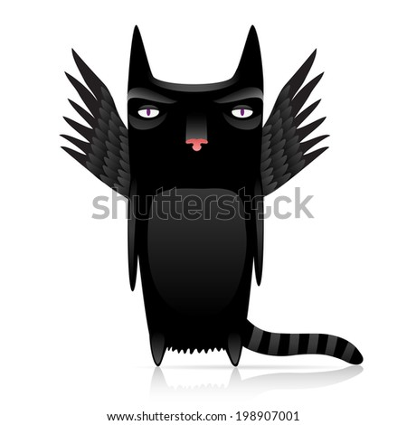 cute inferno cat with dark wings.10 eps with gradients - stock vector