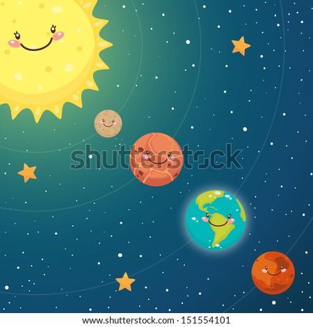 Cute inner planets: mercury, venus, earth, mars - stock vector