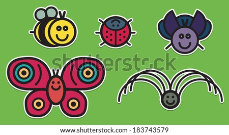 Cute insects set from typical little insects - stock vector