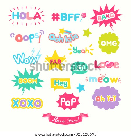 Cute Internet Slang Wording Vector Design Illustration - stock vector