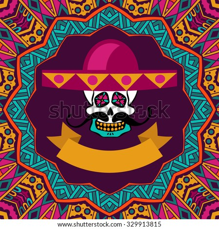 cute invitation card day of the dead, doodle sugar skull with mustache and sombrero vector illustration - stock vector